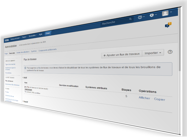 Le menu des workflows sur la page d'administration JIRA
